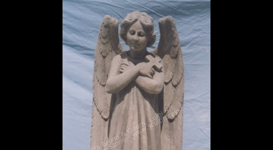 R1 - Hand Carved Statue of Angel with Cross