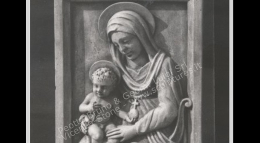 R4 - Stone Carved Wall Panel of Mary and Child