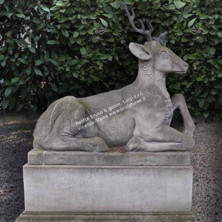 R082 Carved Stone Deers