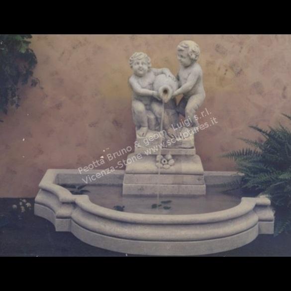 Peotta bruno bacino fontana a muro con putti e anfora for Pompe per fontane da giardino