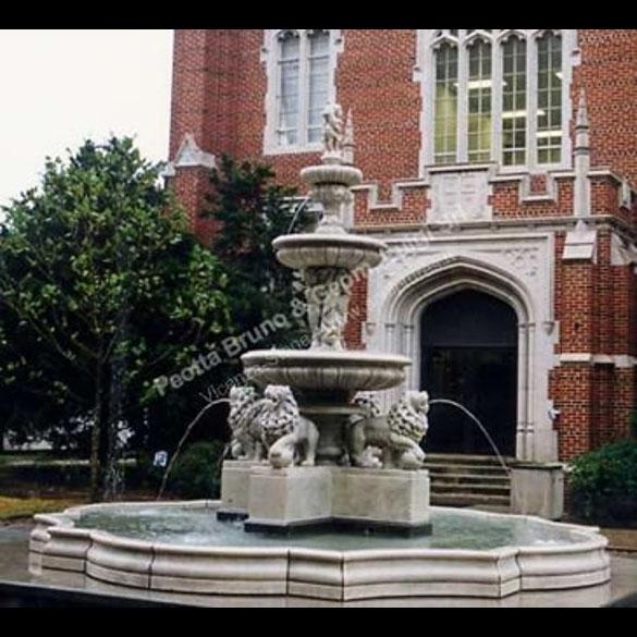 Peotta bruno grande fontana con leoni completa di bacino - Fontane a muro da giardino ...