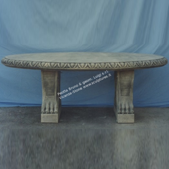 Tavoli Da Giardino Decorati.Peotta Bruno Tavolo Ovale In Pietra Decorato