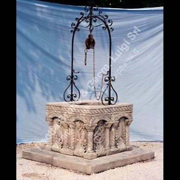 Peotta bruno pozzo bizantino quadrato di pietra pozzo - Pozzi da giardino ...